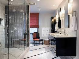 modern contemporary black and white bathroom decor stone wall and