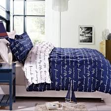 Printed Duvet Cover 3 Pieces Blue Reversible Printed Duvet Cover Set Queen Size U2013 Ntbay