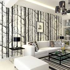 birch tree pattern non woven woods wallpaper roll modern designer