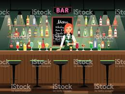 bar counter with bartender lady stock vector art 648721418 istock