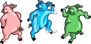 colorful cartoon pigs dancing jig royalty free