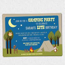 camping party invitations birthday summer woodland animals
