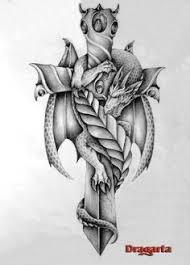 tattoo cross dragon the dragon and the sword flyin by gesielmac on deviantart dragons