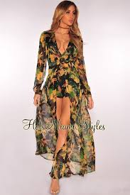 miami styles floral print sleeves maxi romper