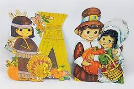 vintage thanksgiving pilgrim indian cardboard cutouts