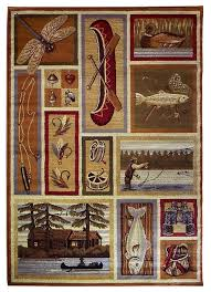 Rustic Area Rugs Canoe Fishing Dragonfly And Duck Design Area Rug 62