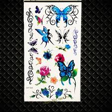 blue fake flash temporary tattoo butterflies women girls makeup