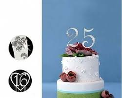 25th anniversary cake toppers monogram silver rhinestone 25th anniversary cake topper with