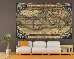 Vintage World Map Large Vintage World Map 3 Panel Wall Art At Texelprintart Com
