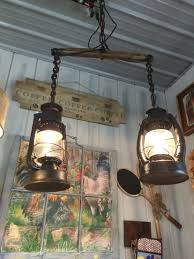 Diy Light Fixtures by Hanging Light Made From Old Lanterns And A Horse Yoke Bombies