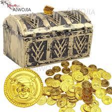 Treasure Chest Favors by 100pcs Plastic Gold Treasure Coins Captain Pirate