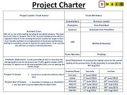 Six Sigma Project Charter Template Excel Six Sigma Project For Improving Quality