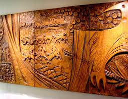 carved wood wall section 2 of carved wooden wall hanging