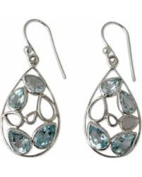 gujarati earrings deals on novica handmade sterling silver sky blue tears topaz