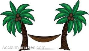 clip art of a hammock hung from palm trees