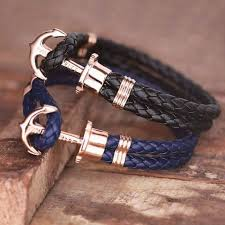 bracelet leather anchor images Paul hewitt rose gold phrep anchor bracelet leather black navy jpg