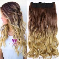 Long Blonde Wavy Hair Extensions by Dip Dye Clip In Long Curly Straight Synthetic 5 16 Clips Ombre