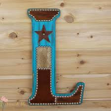 turquoise cowhide wall letter western home decor wall