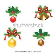 set tree decorations ribbons balls stock vector