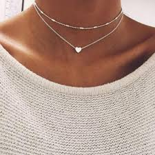 necklace double layer images New double layer silver chain love heart necklace for women beads jpg