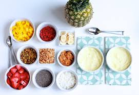Oatmeal Toppings Bar Frosted Pineapple Smoothie Bowls And Toppings Bar Destination Delish