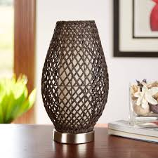 Ceramic Accent Table by Hometrends Dark Brown Rattan Accent Table Lamp With Fabric Lining