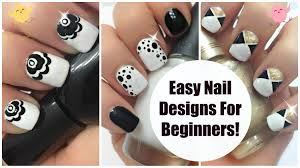 cute u0026 easy nail designs art for beginners 3 black gold u0026 white