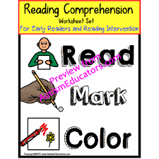 reading comprehension worksheets with data for early readers