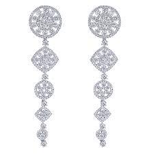 dangle diamond earrings 14k gold cascade dangle diamond drop earrings 6 96ct