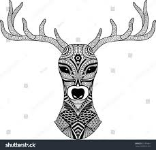 deer head stylized zentangle style tribal stock vector 321676661