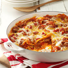 Meat Lasagna Recipe With Cottage Cheese by One Skillet Lasagna Recipe Taste Of Home