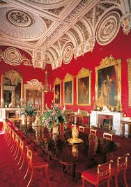 the state dining room buckingham palace crimson silk damask in