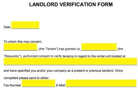 Rent Verification Letter Free Rent Landlord Verification Form Word Pdf Eforms