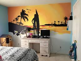 beach sunset mural my husband and i painted for my 10 year old