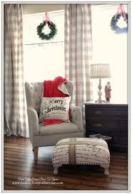 farmhouse vintage christmas living room buffalo check curtains