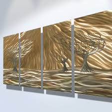 3 trees 4 panel abstract metal wall art contemporary modern