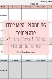 diet plan template meal planning template with grocery list meal
