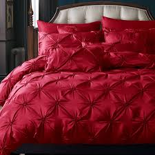 Pinched Duvet Cover Aliexpress Com Buy Luxury Duvet Cover Set Red Pinch Pleat 4pcs