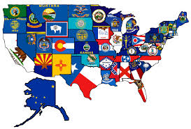 Kansas State Flag Usa State Flag Map Map Of The Usa With Their States Flags Us