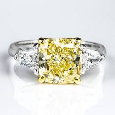 fancy yellow diamond engagement rings fancy yellow diamond ring cushion 3 13 carat vvs2 naturally