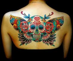colored back of human skull with