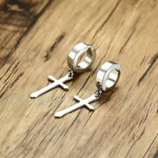 earrings s cross huggie stud men earrings a touch of faith inspired beauty