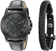 fossil black leather bracelet images Fossil men 39 s fs5147set grant chronograph black leather watch and jpg