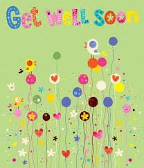get well soon for children get well soon card with birds flowers and hearts stock vector