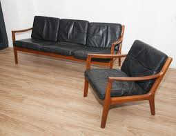 Leather 3 Seater Sofas Black Leather Teak 3 Seater Sofa Armchair By Ole Wanscher For