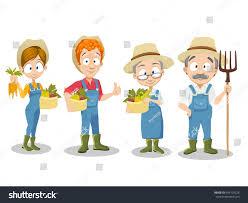 vector illustration gardener family set different stock vector