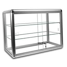 display cabinet glass sliding doors amazon com elegant silver anodized aluminum display table top