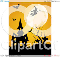 clipart of a full moon with a witch and bats over a halloween
