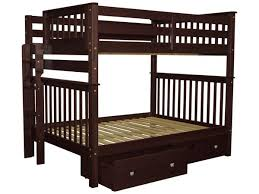 bunk beds full over full end ladder cappuccino 2 drawers 686