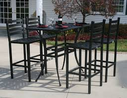 Bar Height Patio Dining Set Polished Cast Iron Height Armchair With Restangle Small Black Tone